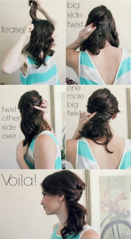 4 Step Messy Side Ponytail