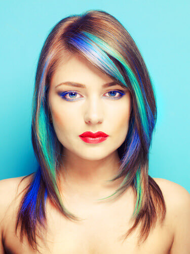 Brilliant Blue Turquoise Purple Punk Highlights on Brown Hair