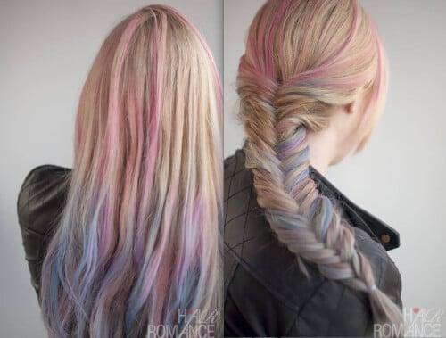 Hair Chalking Fishtail Braid