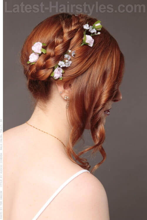 Heidi Braids Cute Red Style with Flower Accessories