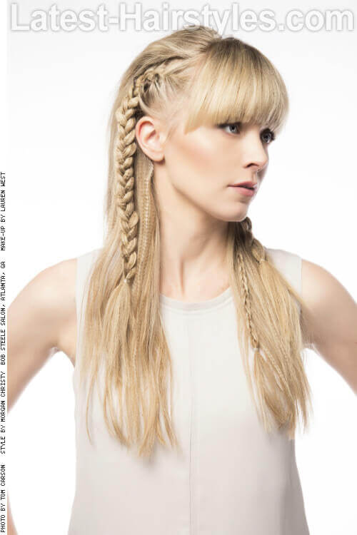 Long Hairstyle with Braids and Fringe Side