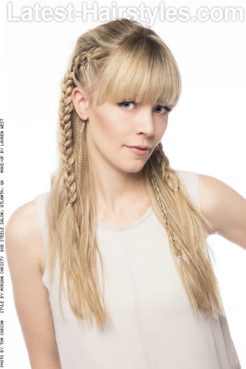 Long Hairstyle with Braids and Fringe