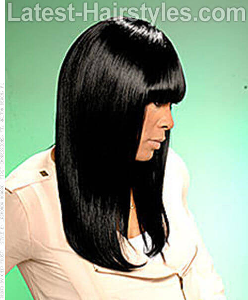 Long Sleek Hairstyle with Heavy Bangs Side