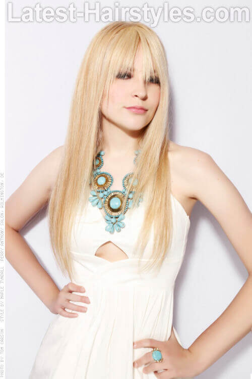 Long Straight Hairstyle with Fringe