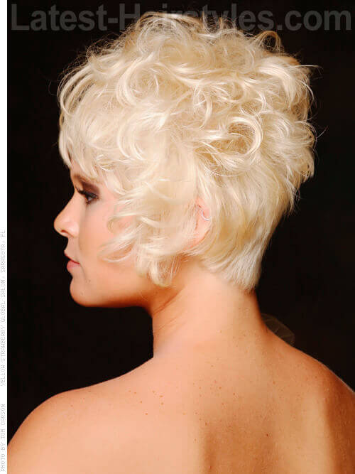 Short Blonde Modern Cute Cut With Bangs Side View