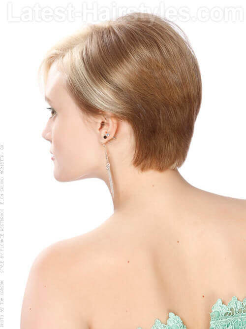 Short Blonde Asymetric Cut Fine Hair Back View