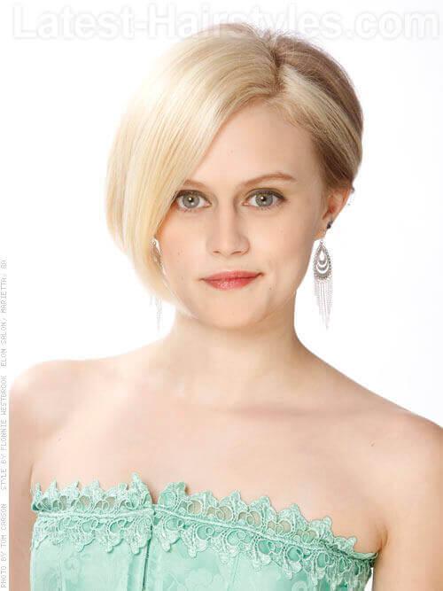 Short Blonde Asymetric Cut Fine Hair Front View