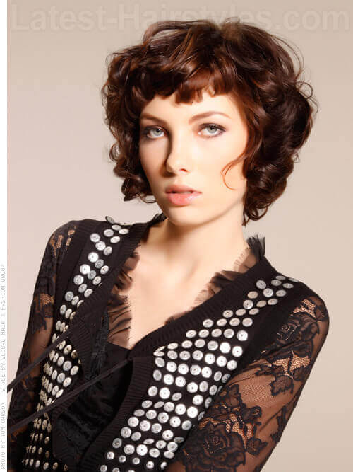 Chic Curly Haircut With Funky Bang