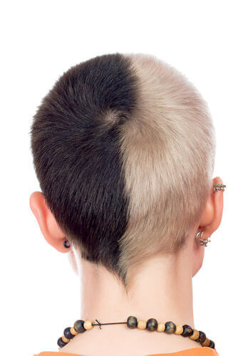 Short Two-Toned Black And White Punk Hairstyle
