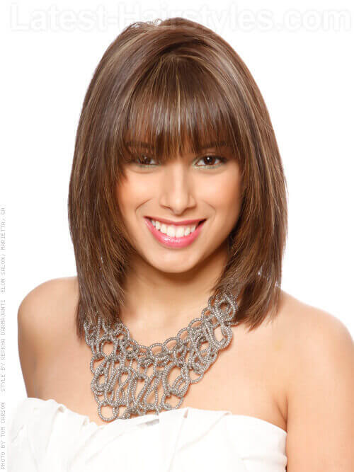 Shag Hairstyle With Thick Bangs