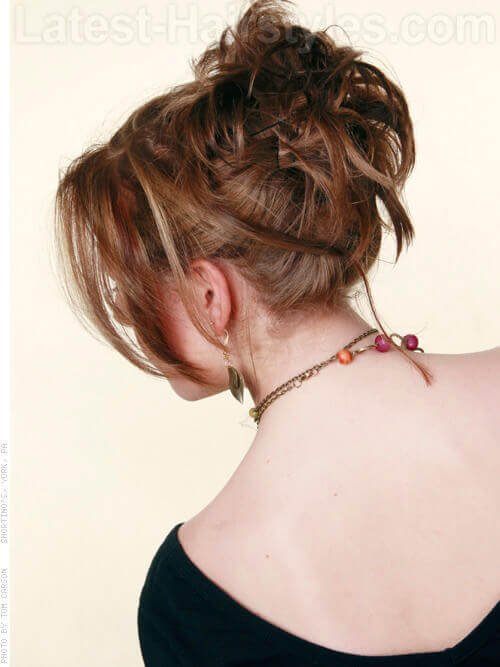 Twisty Texture Medium Length Piecey Style Updo For Short Hair