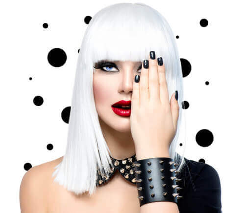 Ultra-Bright White Punk Hairstyle With Bangs