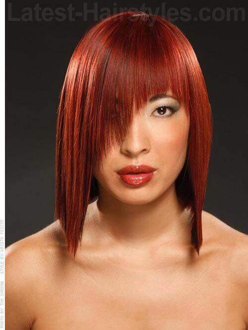 Blunt Asymmetrical Red Angular Unique Cut