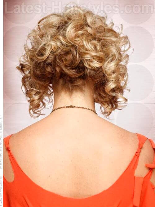 Bobby Pin Headband Curly Wispy Short Hair Updo Back View