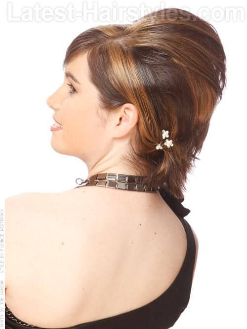 Brilliant Bouffant Medium Length Teased Bob Updo with Bangs