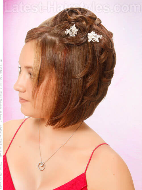 Delicate Curls Formal Short Updo Brunette Bob with Accessories Side View