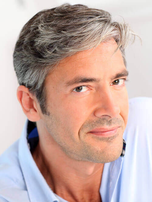 A combover for older men with thicker hair