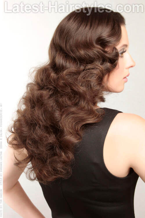 Different Hot Roller Curls Long Flowing Brunette Waves Hairstyle Side View