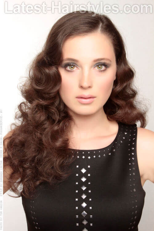 Different Hot Roller Curls Long Flowing Brunette Waves