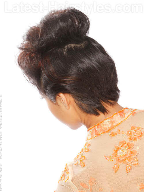 Messy Faux Bun Layered Look Back View