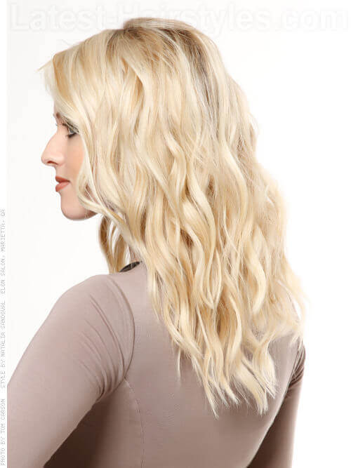 Pretty in Platinum Blonde Waves Beachy Look Side View