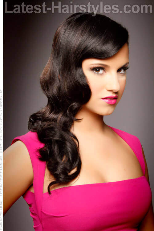 Retro Waves Long Curly Different Look Sideswept