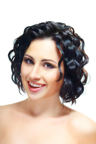 Shiny Waves Silky Black Curls Updo For Short Hair