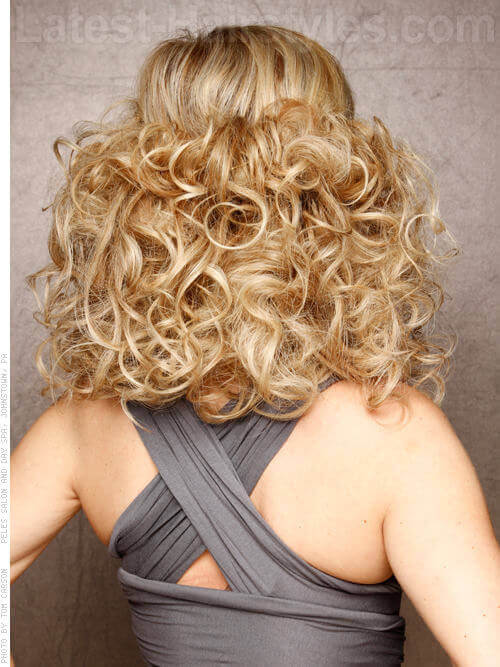 Smooth Halo Long Blonde Curls with Bangs Rear View
