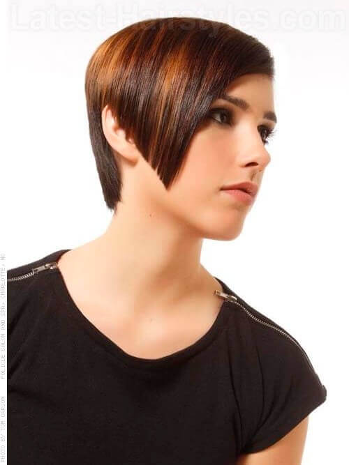 Shiny Asymmetric Short Haircut For Women