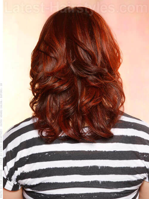 Dark Burgundy Babe Layered Look With Highlights and Layers Natural Curls