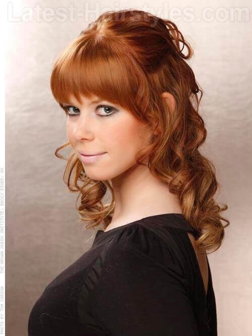 The Face Framing Fringe Red Hair with Waves and Bangs Side View