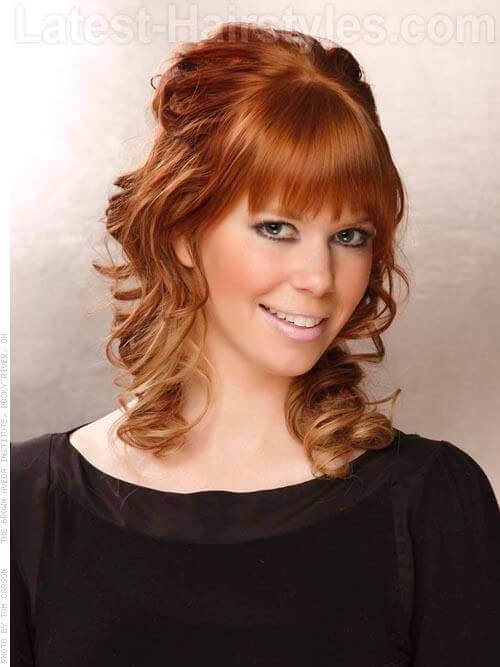 The Face Framing Fringe Red Hair with Waves and Bangs