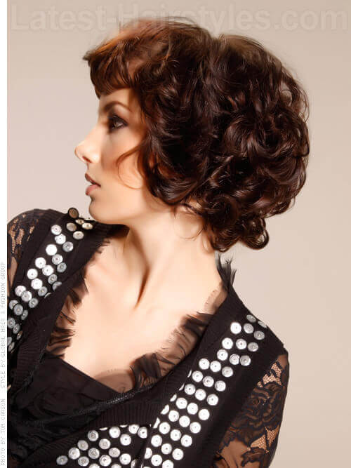Curly Short Haircut for Women With Bangs