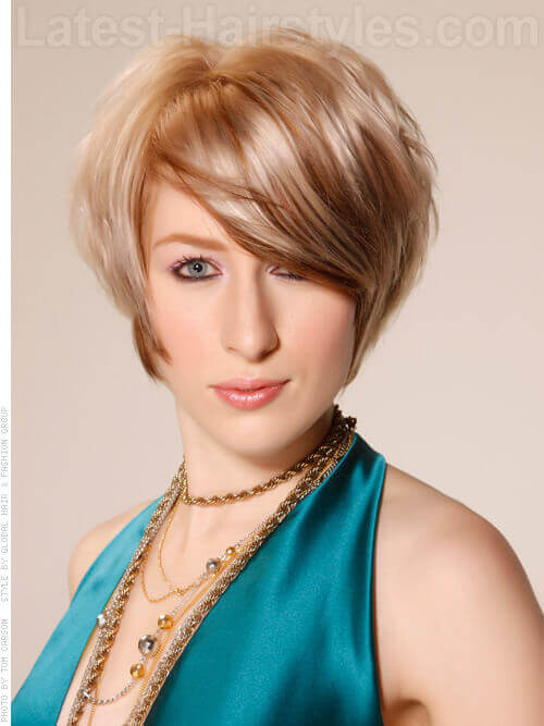 Light Blonde Short Haircut with Sideswept Bangs