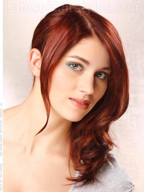 Cool Sideswept Sweetheart Glowing Lush Red Hairstyle
