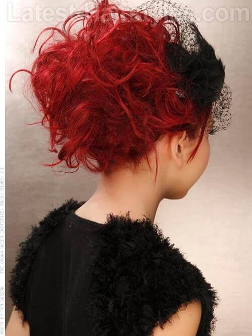 The Teased Up Temptress Red Look with Wild Curls Textured Ends and Bangs