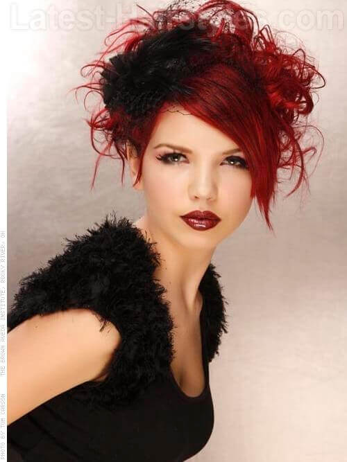 The Teased Up Temptress Red Look with Wild Curls