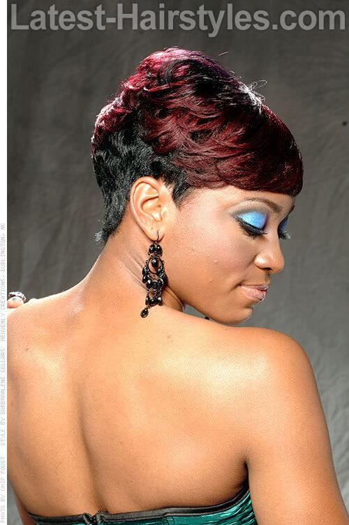 Bold Burgundy Hair Color on Short Hair Side