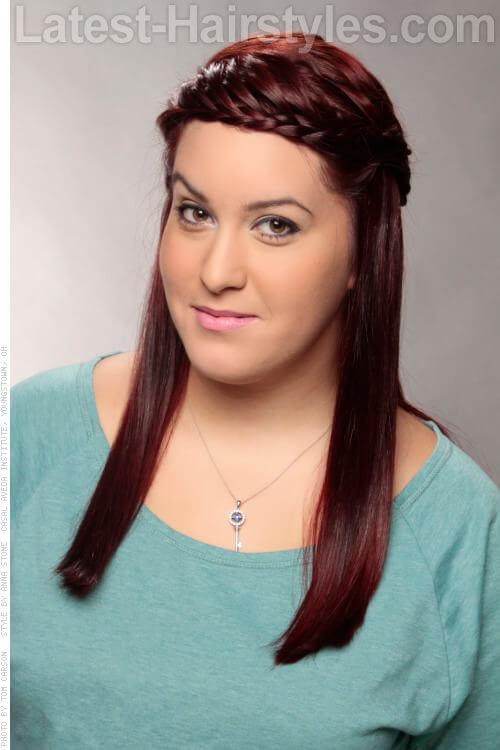 Burgundy Hair Color on Braided Hair
