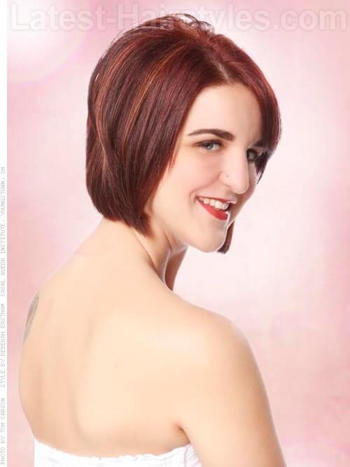 Burgundy Hair Color on Short Hair Side
