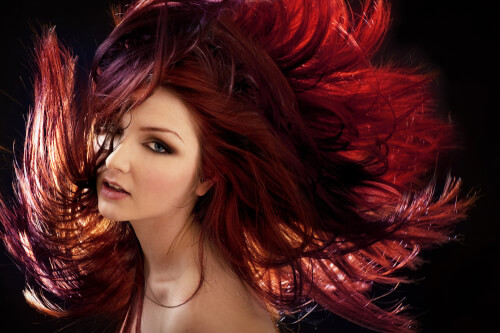 Burgundy Haircolor with Warm and Cool Tones