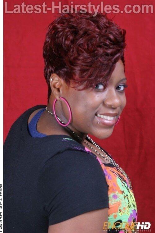 Vibrant Burgundy Hair Color Side