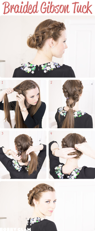 Dutch Braided Gibson Tuck Windy Hairstyle Tutorial
