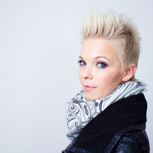 Blonde Girl with Short Hair Spiked Up