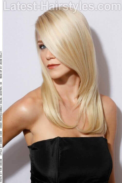 Blonde Long Hairstyle with Shiny Finish Side