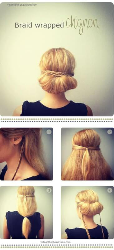 Braid Wrapped Chignon Three Strand Hairstyle