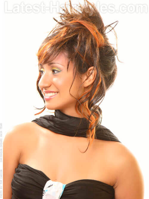 Brunette Hair with Orange Highlights Side
