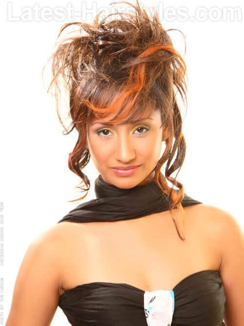 Brunette Hair with Orange Highlights