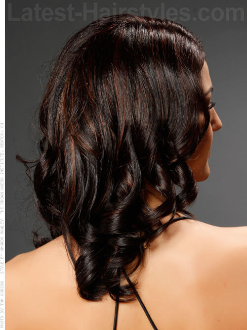 Dark Medium Hairstyle with Curls Back