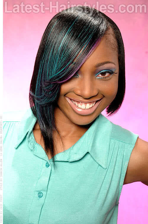 Edgy Bob Weave Hairstyle with Highlights